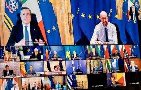 Il Premier Draghi al Consiglio Europeo in videoconferenza Foto: governo.it