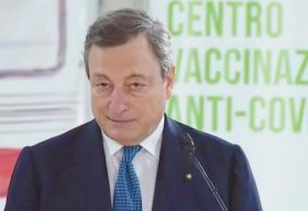Il Premier Draghi all'Hub di Fiumicino